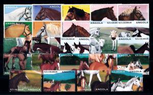 [57830] Angola 1997 Horses 24 Values MNH