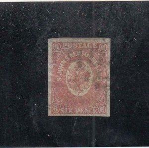 NEWFOUNDLAND (MK6775) # 20 VF-USED  6p 1861-62 ST JOHN'S IMPERF /ROSE-#2 CV $80
