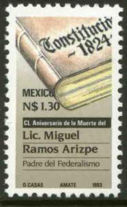 MEXICO 1814, 150th Anniv of the Death of Miguel Ramos Arizpe. MINT, NH. VF.