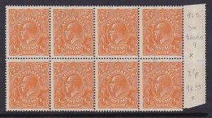 G465) Australia 1923 KGV ½d Orange single wmk  gutter marginal  block of 8
