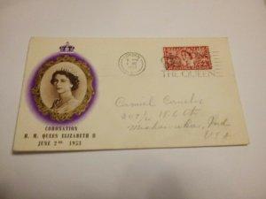 England 1953 Queen Elizabeth Coronation cover $12 FREE SHIPPING