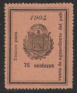 EL SALVADOR 1904 75c ARMS Sales Tax on Brandy Revenue Ross 160 MNGAI
