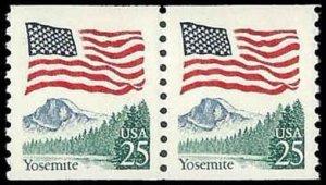 US #2280 Coil Pair 50c(2x25c)Flag/Yosemite, MNH, (PCB-3)