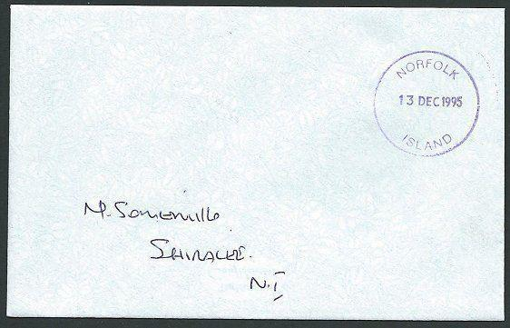 NORFOLK IS 1995 local cover unstamped - Violet cds.........................42776