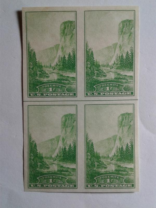 SCOTT # 756 PLATE BLOCK OF 4 IMPERFERATED  WITH GUIDELINE NGAI MINT NEVER HINGED