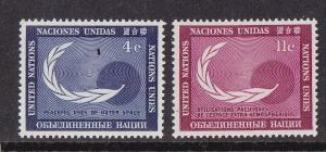 UN - NY # 112-113, Peaceful Use of Space, Mint NH, 1/2 Cat.