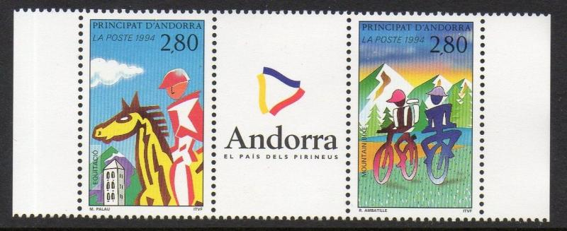 Andorra French 1994 Mountain Biking Horseback Riding VF MNH (442a)