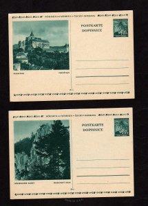 Lot 2 Bohemia Moravia Bohmen Mahren Cechy Czechoslovakia Postkarte Postal Cards