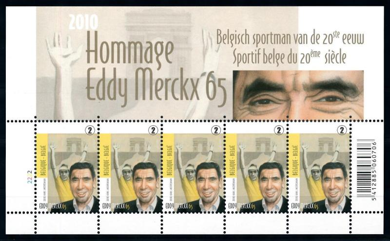 [77094] Belgium Belgien 2010 Eddy Merckx Cycling Legend Souvenir Sheet MNH