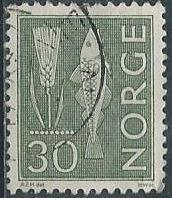 Norway 462 (used) 30ø rye & fish, dull green (1964)