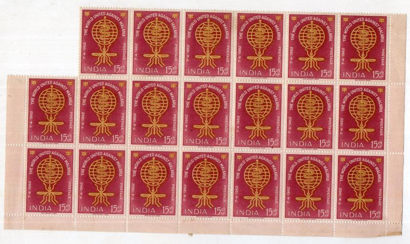 India 1962 Malaria Eradication Health MNH blk of 21 indian gum see back scan