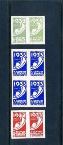 8 VINTAGE 1933 CENTURY OF PROGRESS POSTER STAMPS (L521) CHICAGO