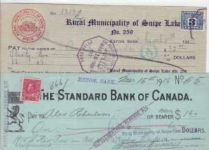 Canada bank cheques 1935 & 1916 with revenue stamp r20219