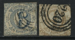 Thurn & Taxis Southern District 1862 6 and 9 kreuzers used