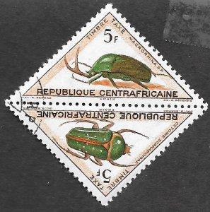 Central African Republic Scott #J7-J8 5fr Beetle pair Postage Due (1962) MNH