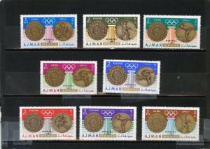 AJMAN 1968 SUMMER OLYMPIC GAMES MEXICO WINNERS SET OF 8 STAMPS MNH