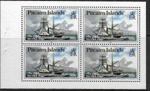PITCAIRN ISLANDS, 306B, MNH, BKLT PANE OF 4, 1853 H.M.S. VIRAGO