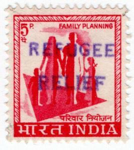 (I.B) India Revenue : Refugee Relief 5p (handstamp)