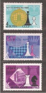Russia/USSR 1963,25th Chess Championship,Moscow,Scott # 2742-44,VF MNH**