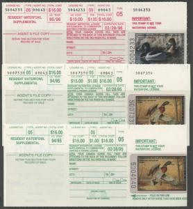 STATE DUCK STAMPS FROM 41 DIFF STATES LOT (164) SINGLES, PAIRS, BLKS, S/S WLM206