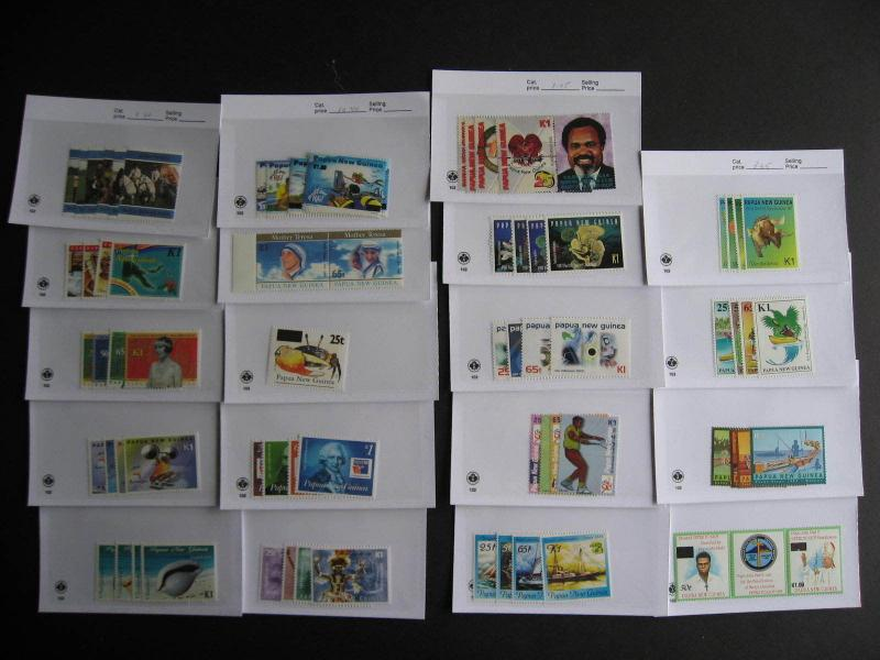 PAPUA NEW GUINEA 19 different MNH 1995-2000 era sets in sales cards,very topical