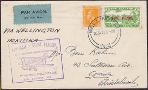 NEW ZEALAND 1932 West Coast survey flight cover Wellington to Hokitika......2375