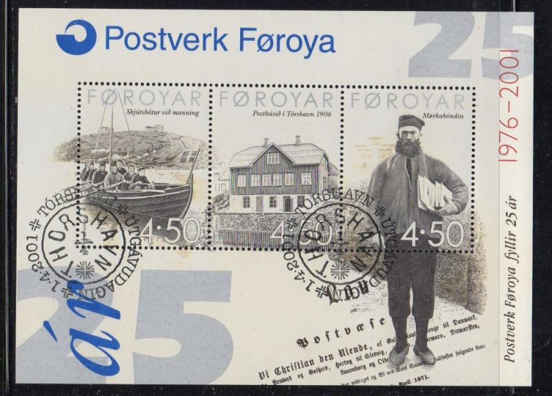 Faroe Islands Sc 395 2001 25th Postal Service stamp sheet used