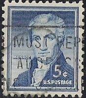 1038 5 cent Monroe Stamp used EGRADED XF-SUPERB 96 XXF