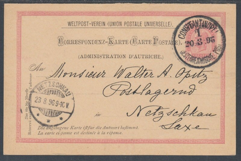 Austria, Offices in Turkey, H&G 19 used 1896 20pa on 5kr Double Card, VF+