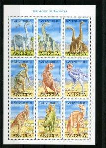ANGOLA 1998 Sc#1054 PREHISTORIC ANIMALS/DINOSAURS SHEET OF 9 STAMPS MNH