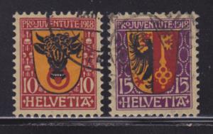 Switzerland B10-B11 VF-used set nice colors scv $ 36 ! see pic !