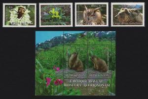 Uzbekistan Owl Birds Bear Beetle Flowers Chatkal Bio Reserve 4v+MS