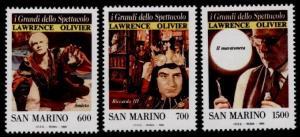 San Marino 1202-4 MNH Laurence Olivier, Movies