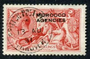 Morocco Agencies SG54 5/- Rose-red Bradbury CDS used Cat 110 pounds