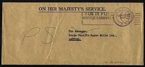 FIJI 1969 OHMS cover UN Official Paid - Hibiscus Carnival slogan cancel....95570