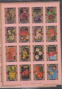 UMM AL QIWAIN SHEET IMPERF FLOWERS ( PINK )