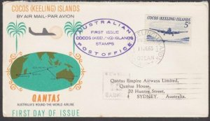 COCOS IS 1963 5d FDC carried Qantas flight to Sydney........................M515