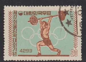 South Korea, Scott 309, used, 17th Olympic Games, Rome, Weight Lifter