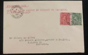 1932 St Vincent First Flight Cover FFC To Barbados By Hummingbird Via Jamaica