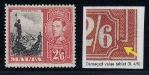 Malta, SG 229a, MLH Damaged Value Tablet variety