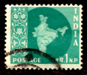 India 1np Map of India 1960 SG.399, Sc.302 Used (#05)