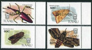 Tuvalu 566-569 SPECIMEN,MNH.Michel 587-590. Insects 1991.Beetle,Moths.