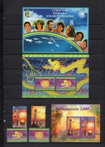SOLOMON ISLANDS 2000 YEAR SET OF 4 STAMPS & 3 S/S MNH