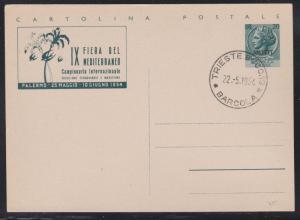 Italy Trieste 1954 20L AMG-FTT  OVP 9 Mediterranean Fair Illustrated Postal Card