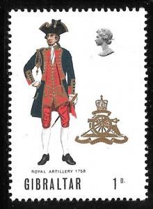 Gibraltar 226: 1p Royal Artillery 1758, MH, VF