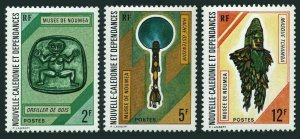 New Caledonia 398-400,MNH.Michel 520-522. Noumea Museum,1972.Wooden pillow,Mask.