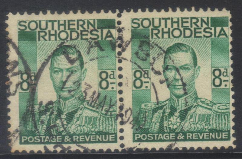 SOUTHERN RHODESIA 1937 DEFINS SG45 USED PAIR CAT £8+