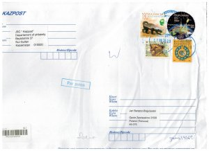 Kazakhstan 2020 Registered Cover to Poland Stamps Space Satellite Snail Animals