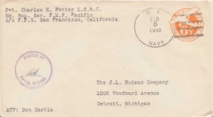 United States Marine Corps 6c Monoplane Air Envelope 1945 U.S. Navy, Headquar...