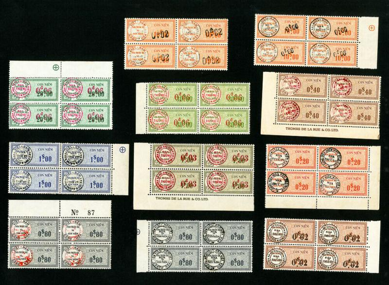 Vietnam Stamps # Lot of 44x Very Scarce Revenues in 11 Blocks of 4 Mint